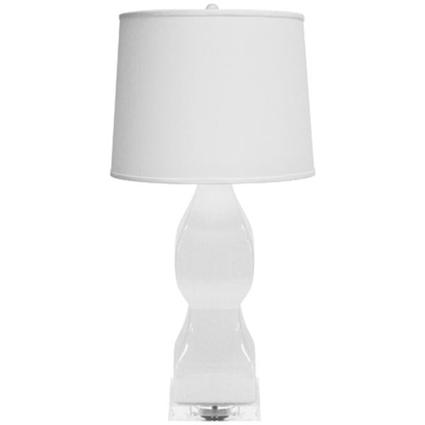 Worlds Away Ceramic Table Lamp with White Linen Shade