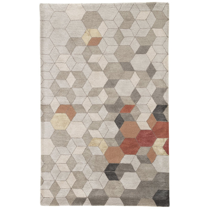 Jaipur Genesis Combs Geometric GES03 Light Gray/Orange Area Rug