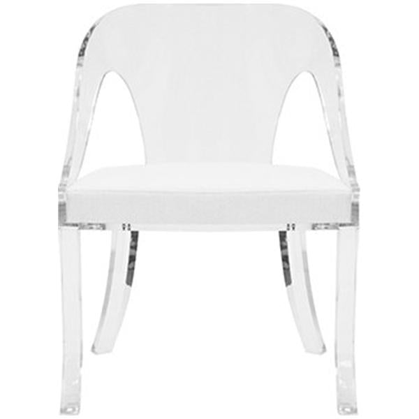 Worlds Away Round Back Acrylic Chair with White Linen Cushion