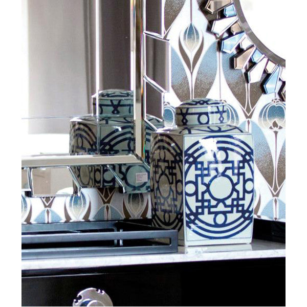 Bungalow 5 Jasper Square Jar in Blue and White
