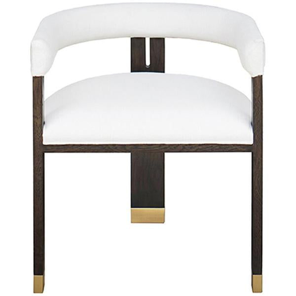 Worlds Away Modern Wooden Accent Chair with White Linen Upholstery