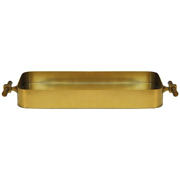 Worlds Away Small Rounded Edge Tray in Antique Brass and Inset Mirror