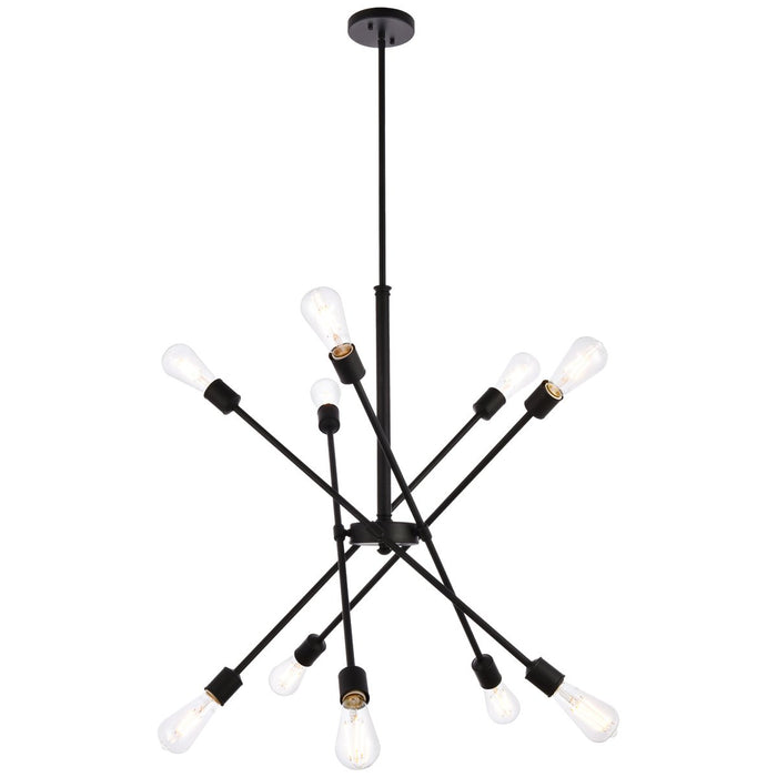 Elegant Lighting Axel 10-Light Black Pendant with Hanging Rod