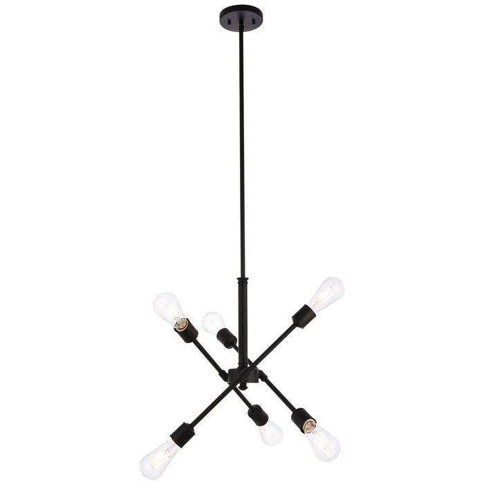 Elegant Lighting Axel 6-Light Black Pendant with Hanging Rod