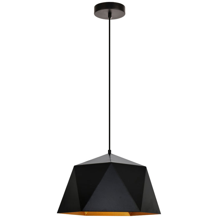 Elegant Lighting Arden Pendant in Black and Gold