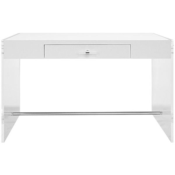 Worlds Away Acrylic Side Panel Desk with White Lacquer Top