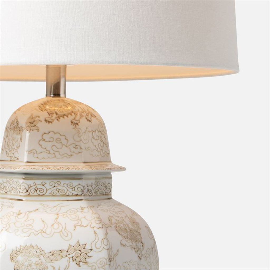 Made Goods Christina White and Beige Gloss Ceramic Table Lamp