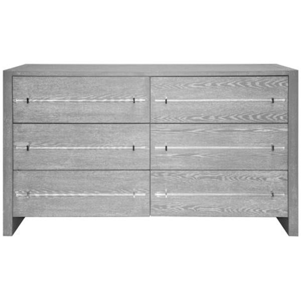 Worlds Away Six Drawers Chest with Acrylic Hardware