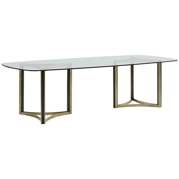 Caracole Modern Artisan Remix Double Pedestal Glass Top Table