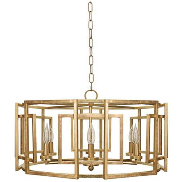 Worlds Away Square Motif Drum Chandelier with Six Arm Light
