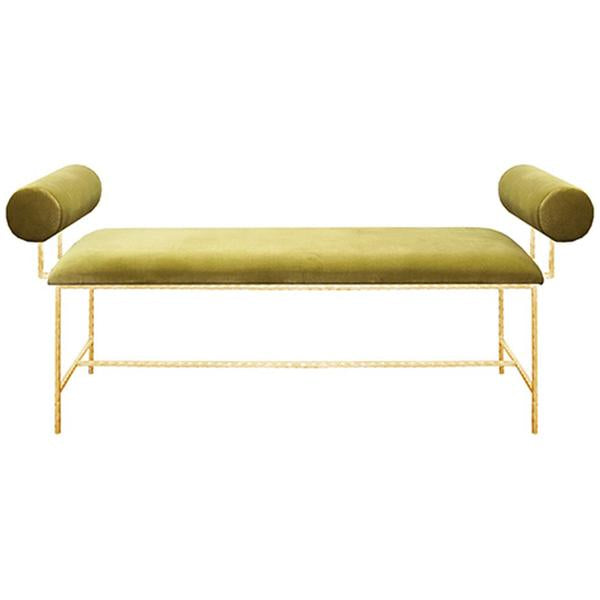 Worlds Away Bolster Arm Gold Leaf Bench
