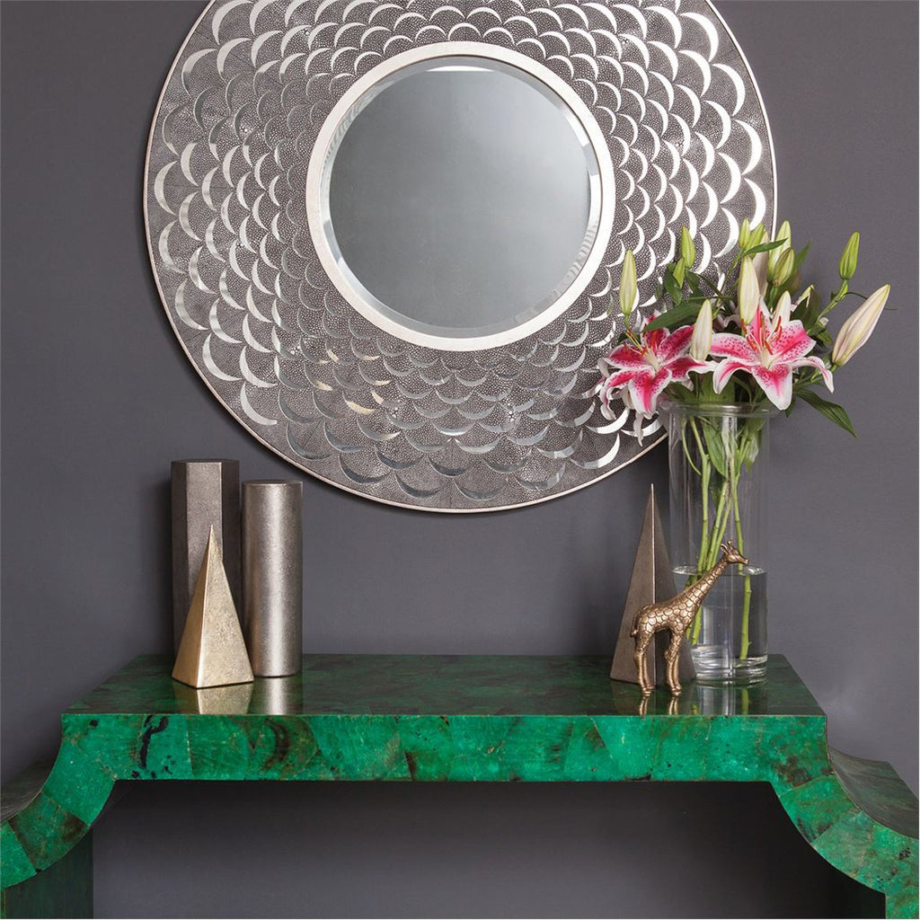 Made Goods Natalie Scalloped Realistic Faux Shagreen Mirror