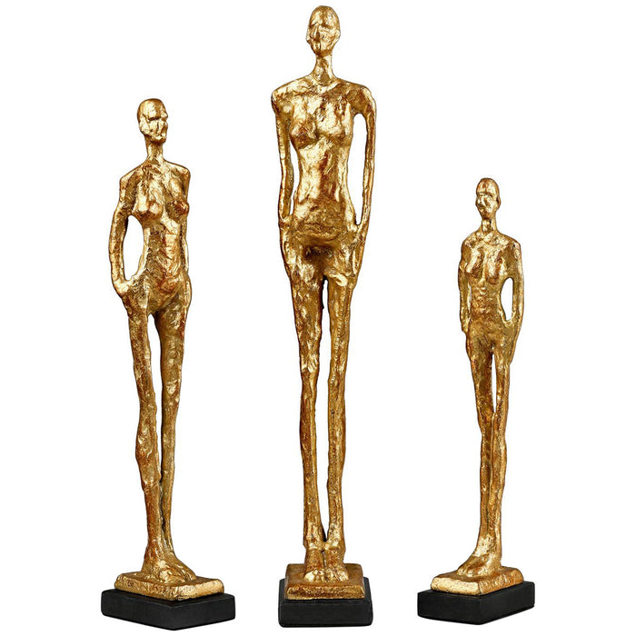 Bungalow 5 Miles Statues  Set of 3 Statues in Gold