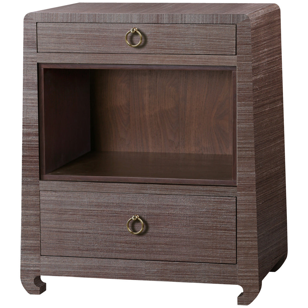 Ming 2-Drawer Side Table in Brown