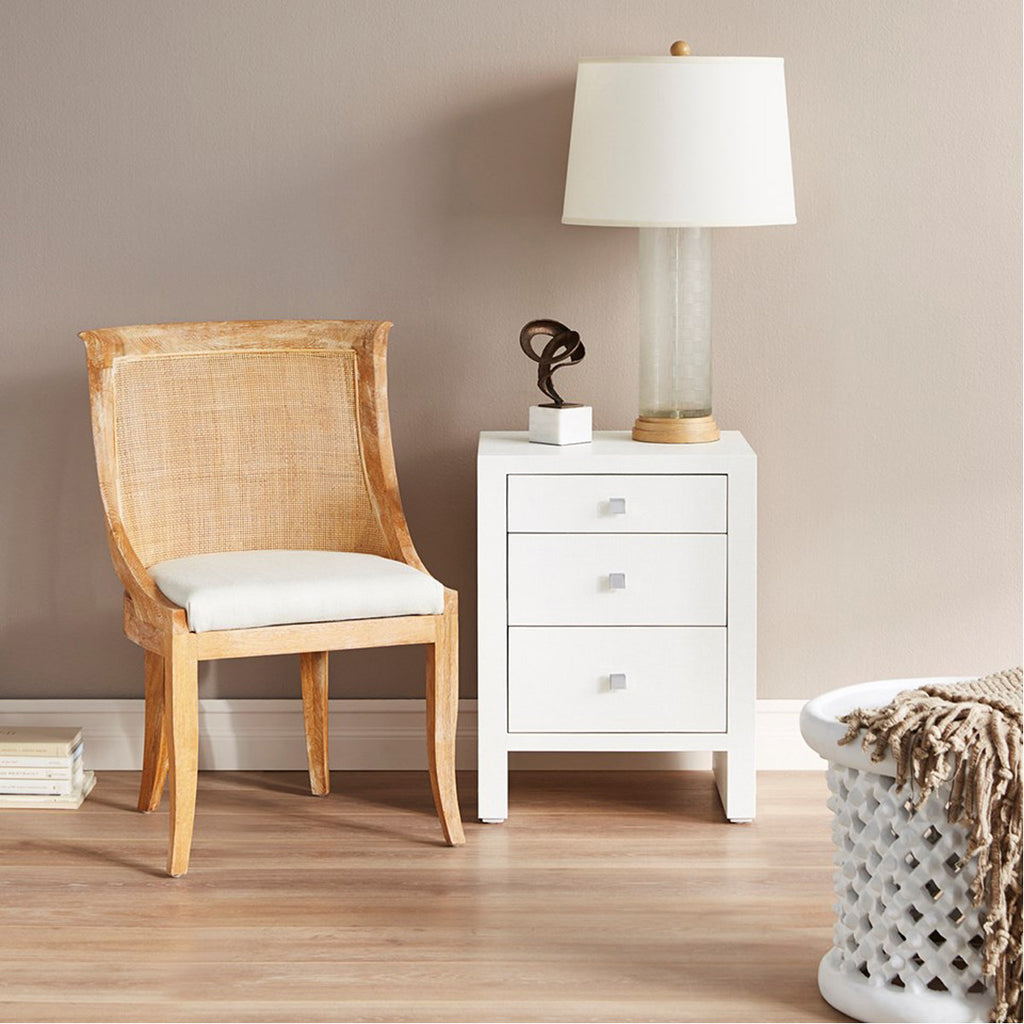 Bungalow 5 Morgan Grasscloth 3-Drawer Side Table in White