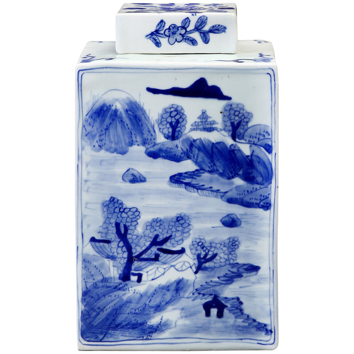 Bungalow 5 Peony Square Jar in Blue and White
