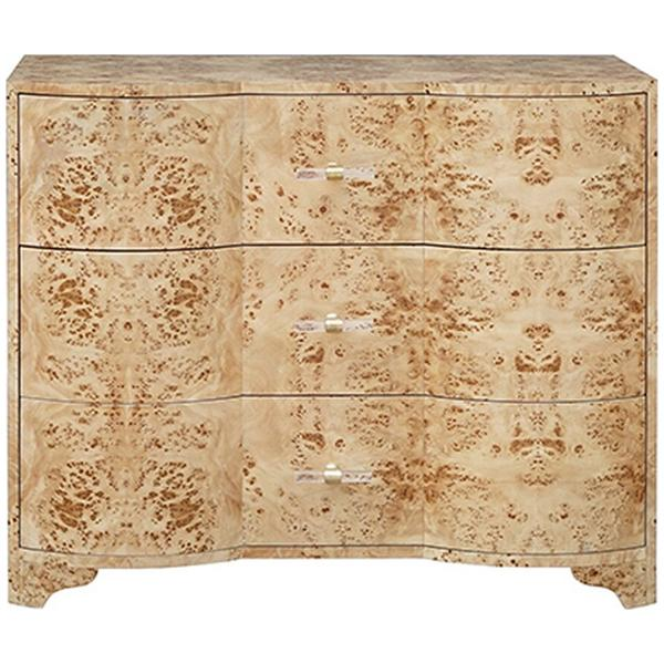 Worlds Away 3-Drawer Chest with Acrylic Hardware