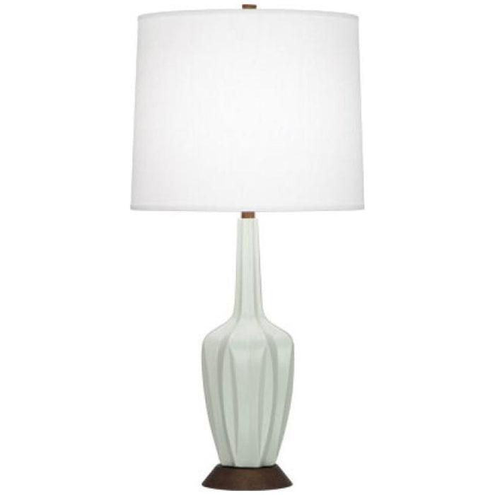 Robert Abbey Cecilia Walnut and Oyster Linen Shade Table Lamp