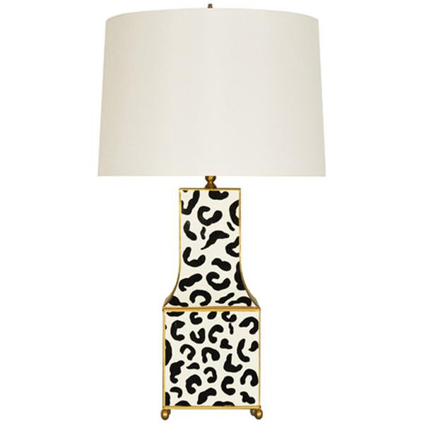 Worlds Away Hand Painted Pagoda Table Lamp in Black Leopard