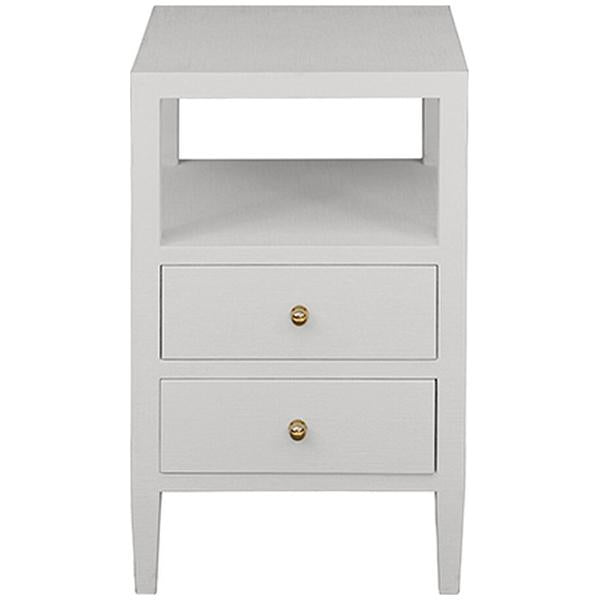 Worlds Away 2-Drawer Side Table in Coated White Linen