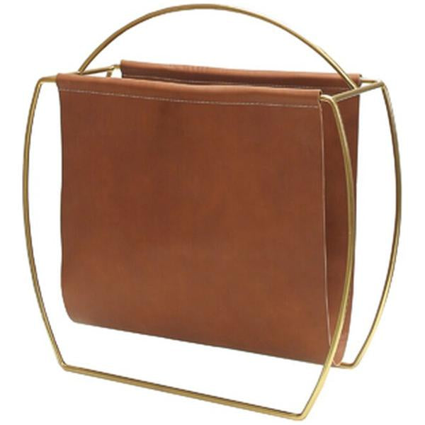 Worlds Away Magazine Rack Brown Leather and Brass Handle