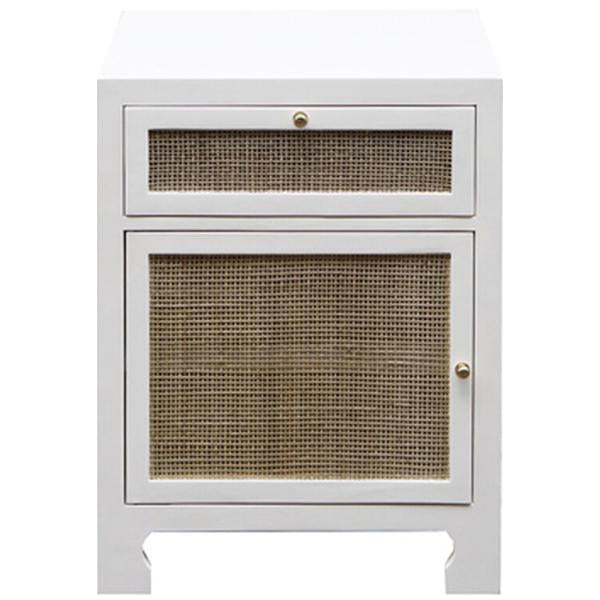 Worlds Away Cabinet with Cane Door Front in White Lacquer
