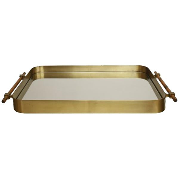 Worlds Away Rounded Edge Tray in Antique Brass