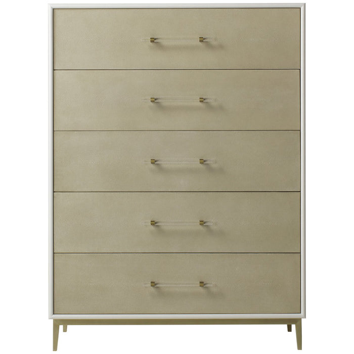 Maison 55 Alice 5-Drawer Chest - Emboss Faux Shagreen