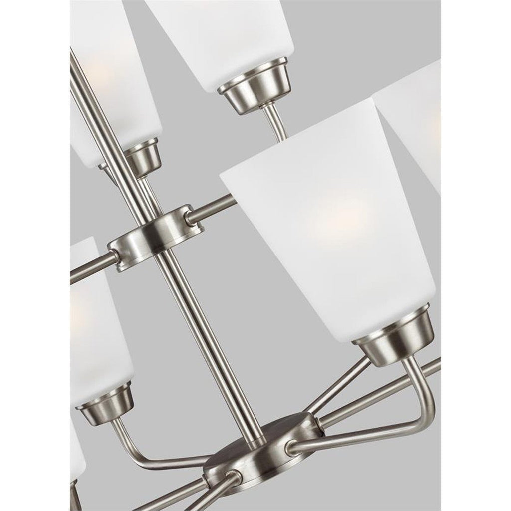 Sea Gull Lighting Kerrville Transitional Nine Light Chandelier