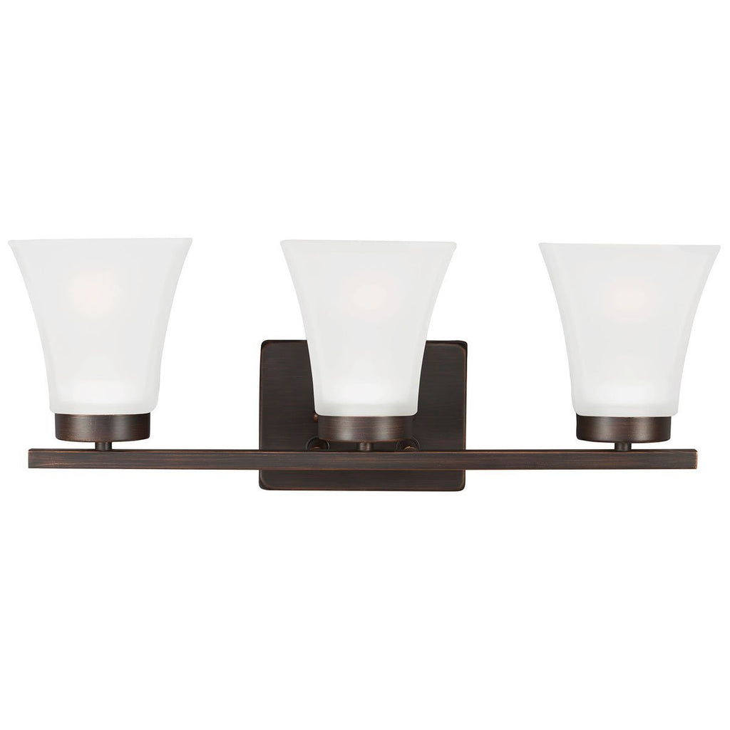 Sea Gull Lighting Bayfield Contemporary Three Light Wall Bath Sconce