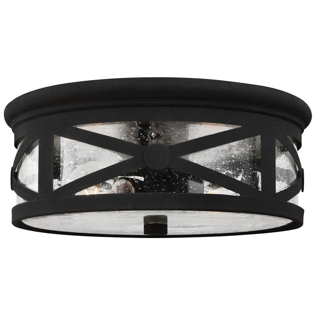 Sea Gull Lighting Transitional Two Light Outdoor Ceiling Flush Mount