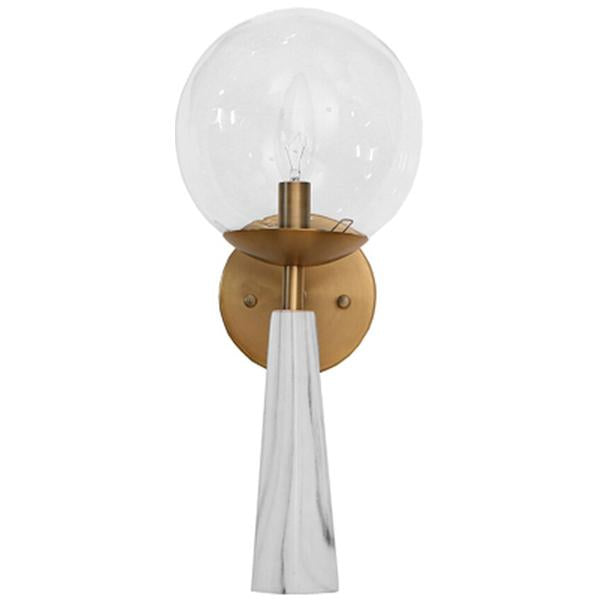 Worlds Away Faux Marble Sconce with Clear Globe