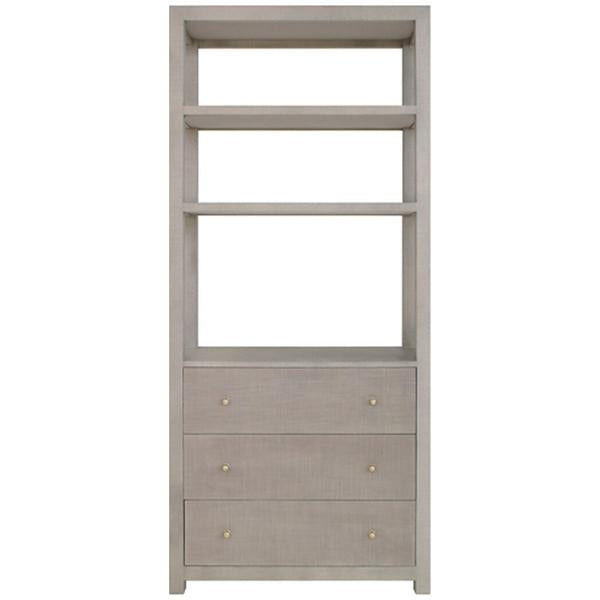 Worlds Away Etagere with Grey Grasscloth Case and Grey Linen Drawers