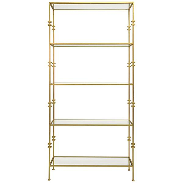 Worlds Away Tall Etagere with Square Iron Rings