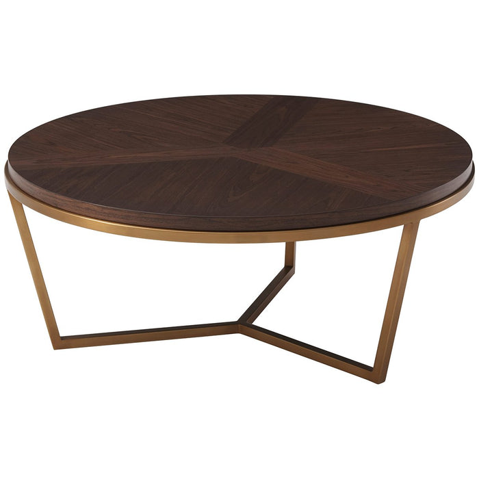 Theodore Alexander Walnut Grained Veneer Fisher Cocktail Table