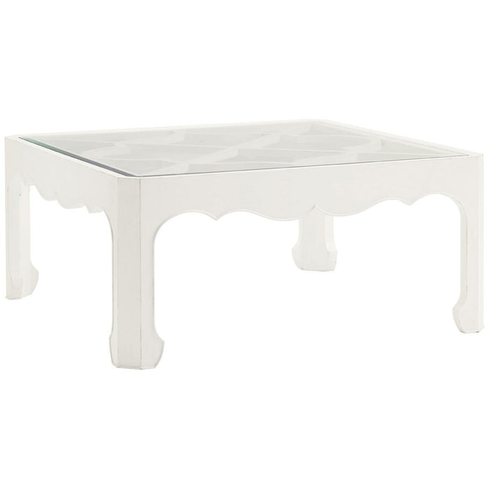 Tommy Bahama Ivory Key Cassava Cocktail Table with Glass Insert