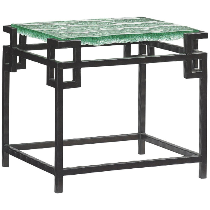 Tommy Bahama Island Fusion Black Hermes Reef Glass Top End Table