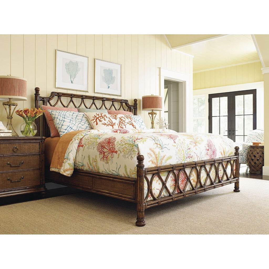 Tommy Bahama Bali Hai Medium Brown Island Breeze Rattan Bed