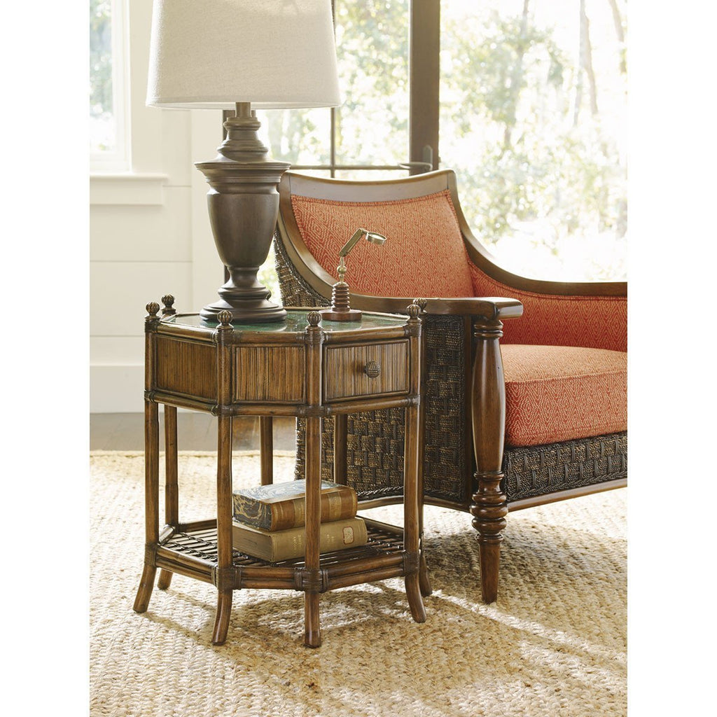 Tommy Bahama Bali Hai Medium Brown Flamingo Octagonal End Table
