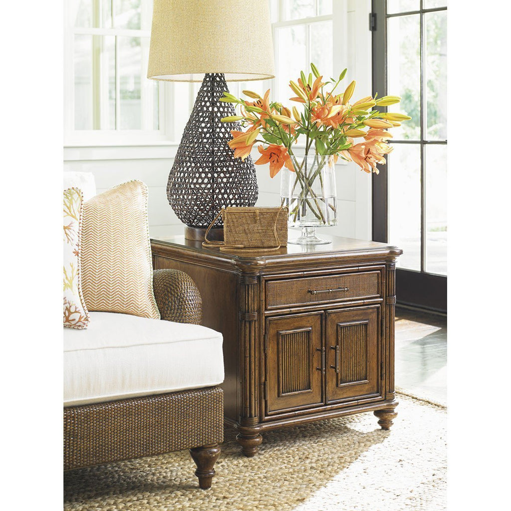 Tommy Bahama Bali Hai Medium Brown Mariner Storage End Table
