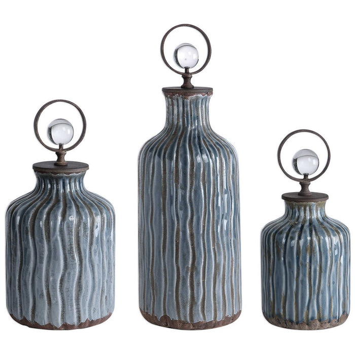 Uttermost Mathias Grey-Blue Vessels, Set of 3