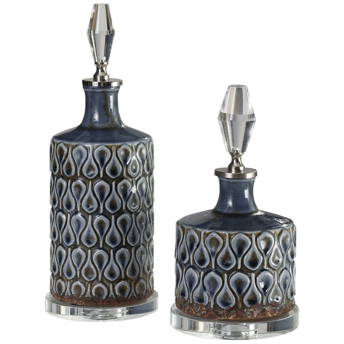 Uttermost Varuna Cobalt Blue Bottles, Set of 2