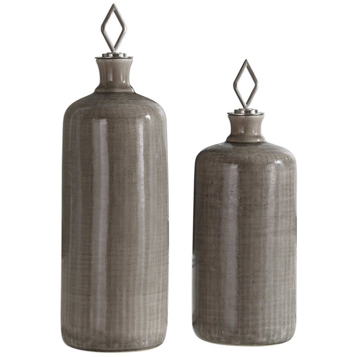 Uttermost Dhara Taupe Glaze Bottles, Set of 2