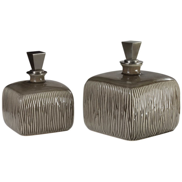 Uttermost Cayson Ribbed Ceramic Bottles, Set of 2