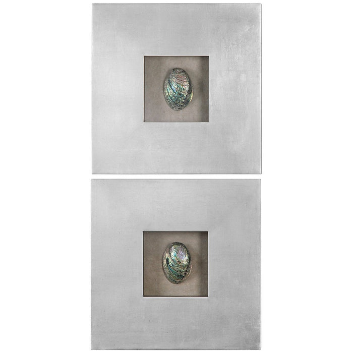 Uttermost Set of 2 Abalone Shells Silver Wall Art