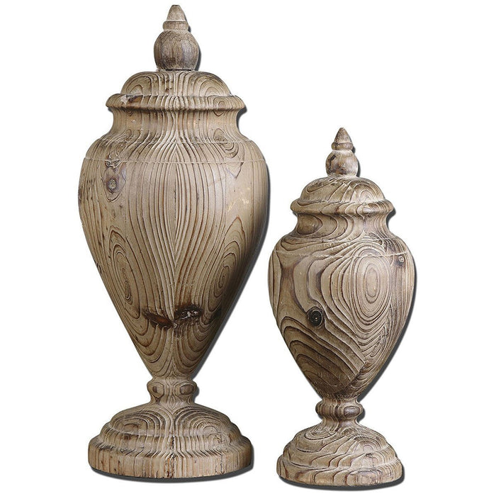 Uttermost Brisco Carved Wood Finials, Set of 2 19613