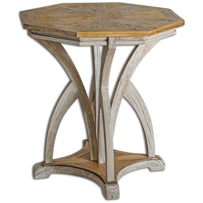 Uttermost Ranen Aged White Accent Table 25623