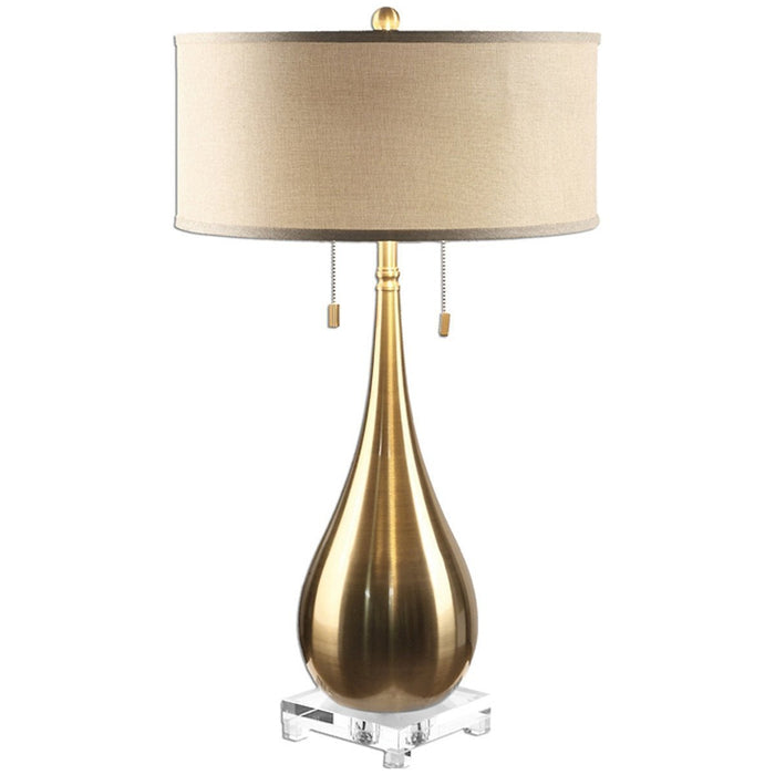 Uttermost Lagrima Brushed Brass Table Lamp