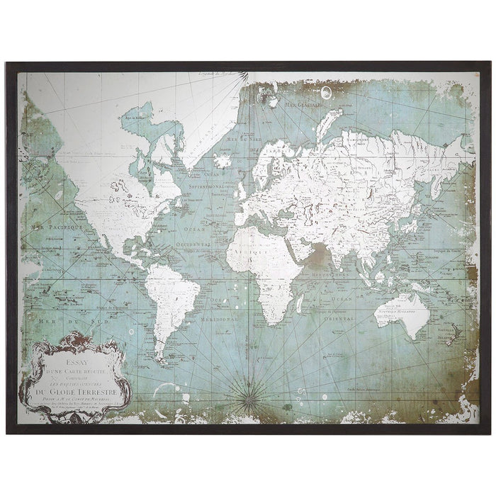 Uttermost Mirrored World Map Art