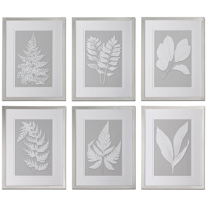 Uttermost Moonlight Ferns Framed Art, Set of 6 41394